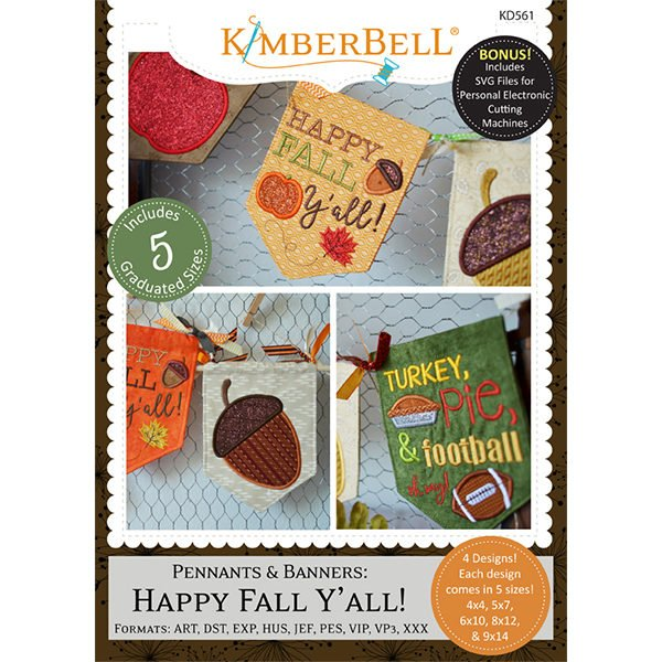 Pennants & Banners: Happy Fall Y'All Embroidery CD