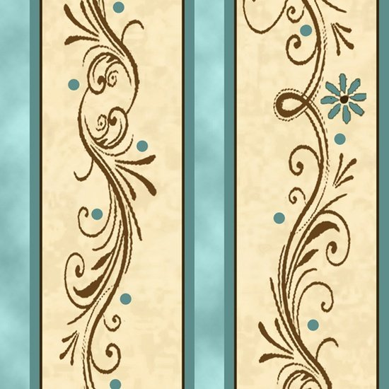 QT-24046-Q-Amazing Grace Decorative Scroll Stripe-Teal