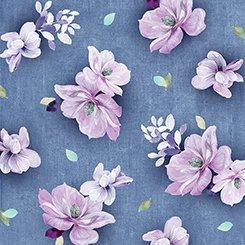 QT-26558-W Jacqueline Tossed Flowers Denim