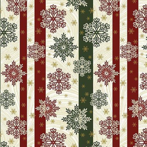 B-2656M-42 Green/Cream Snowflake Stripe AFS2