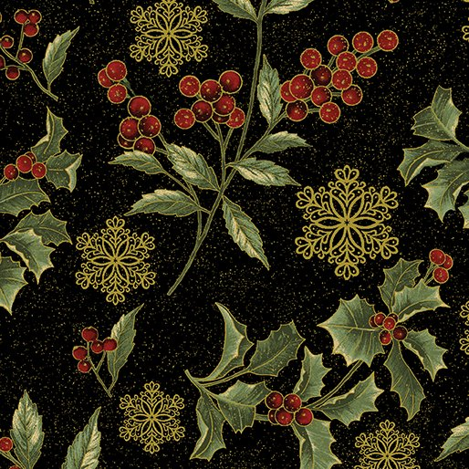 B-2658M-12 Black Festive Holly Sprigs AFS2