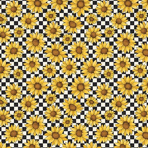 B-3491-11 Sunshine Garden Garden Sunflowers Black/White