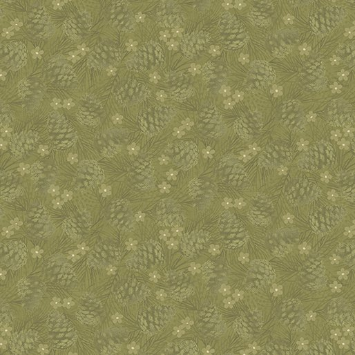 B-4654-44 Green Winter Wonderland Pine Cones Tonal