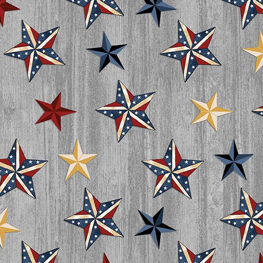 B-6333-11 Grey American Rustic Stars on Wood