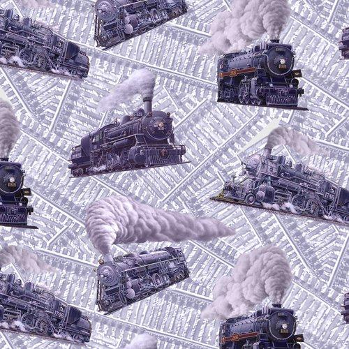 BQ-B-9472-90 Gray Locomotion Tossed Trains