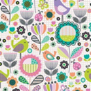 112-28201 - Birds Floral on Grid - Multi/White