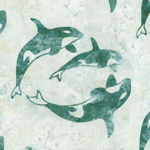 Cantik Batiks Whales White Background