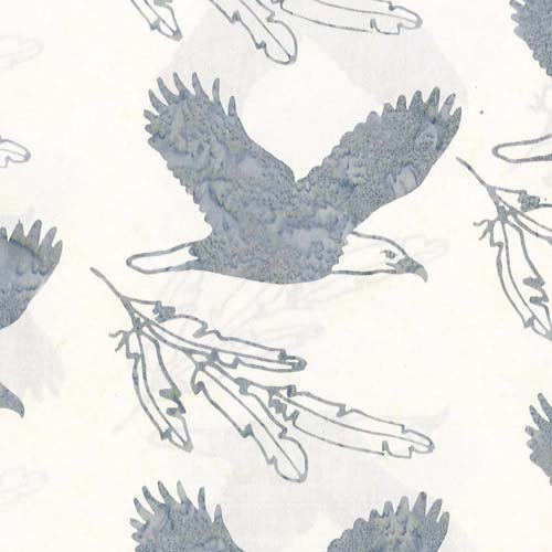Cantik Batiks White with eagle and feathers