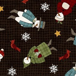 WINTER FOLK FLANNEL BLACK/SNOWMEN