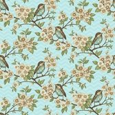 Cherry Blossom Love Lt Blue with flowers & birds