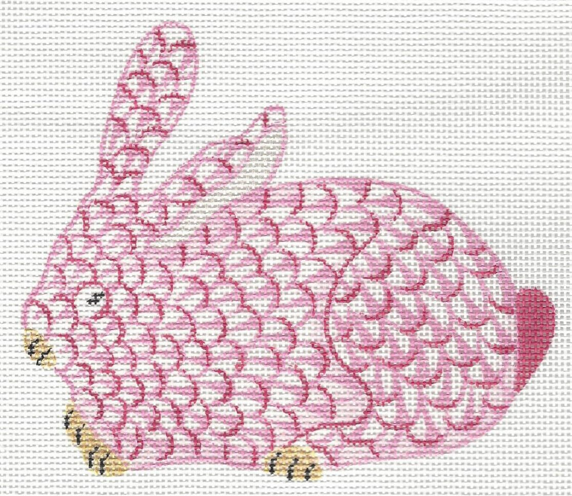 Mini Herend Inspired Crouching Bunny - Pink and Gold