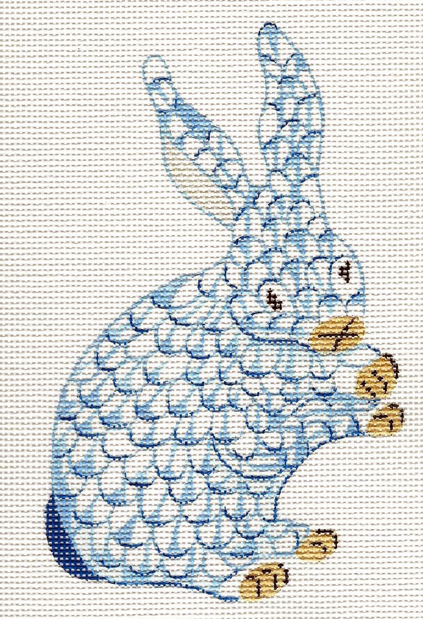 Mini Herend Inspired Standing Bunny - Blue