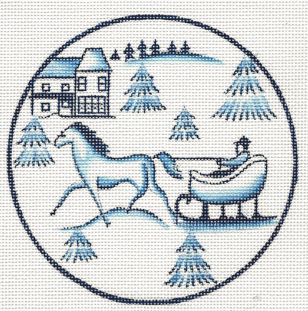 Toile Horse and Sled - Blue