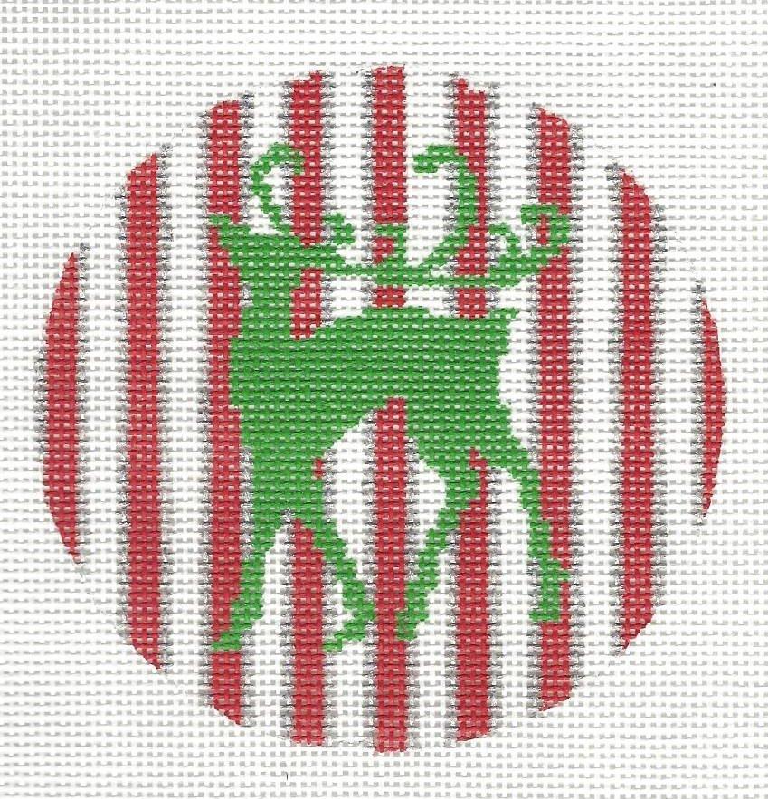 Green Reindeer on Red Stripe