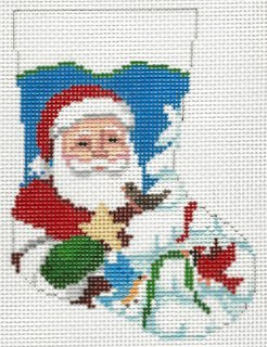 Mini Sock Bird in Tree Santa