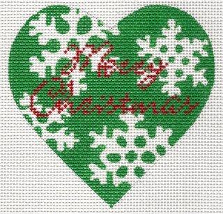 Green Snowflake Heart