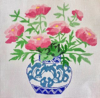 Peonies in a Blue Bowl