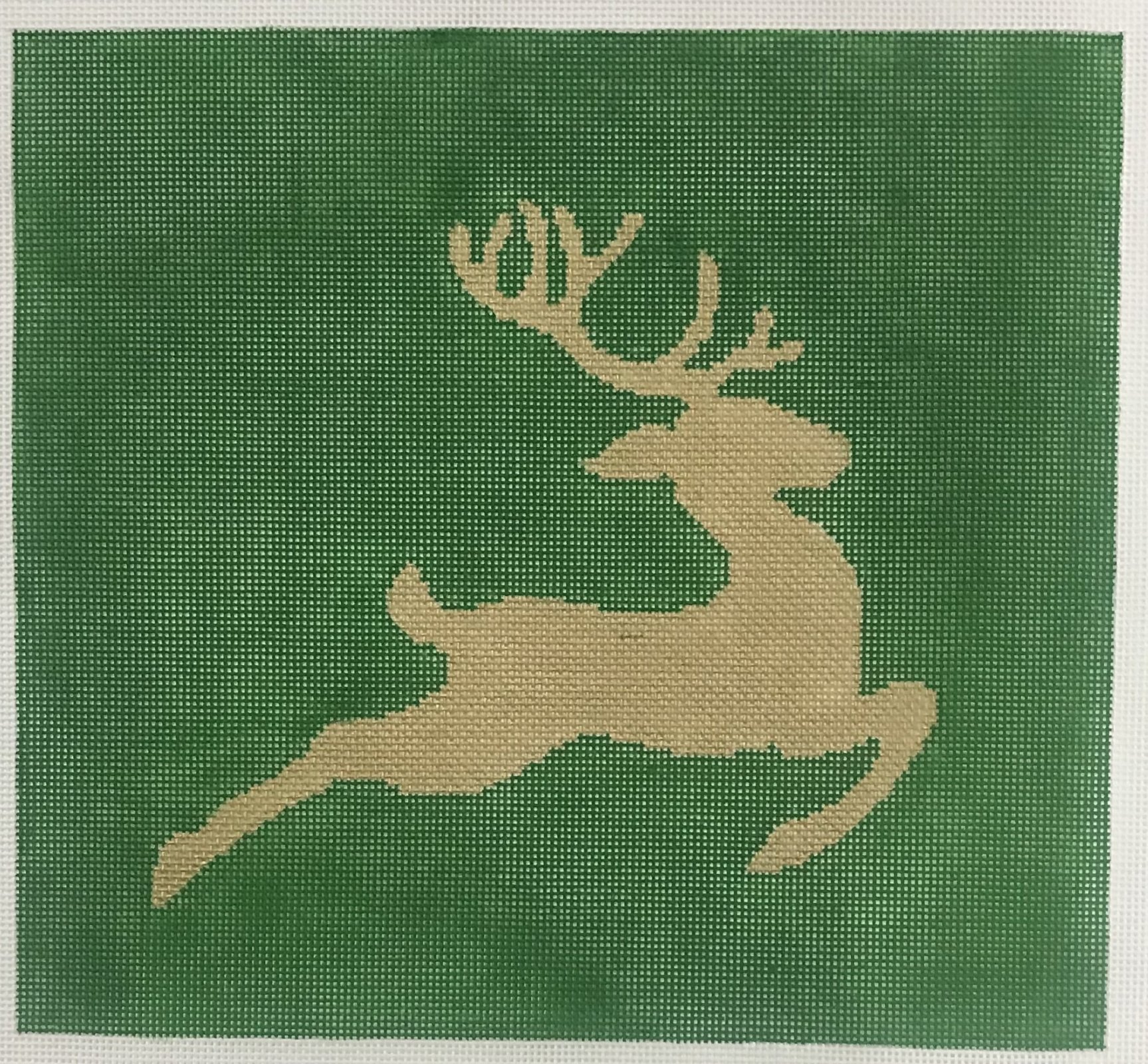 Reindeer Silhouette - Green and Gold