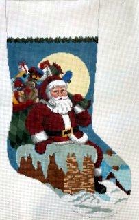 Santa Down The Chimney Boy Stocking