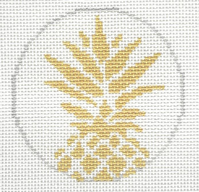 Pineapple Stencil Round - White