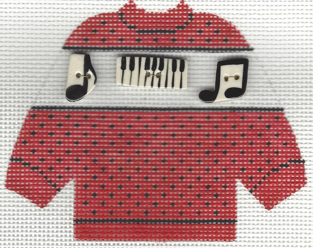 Pullover Sweater Music Buttons