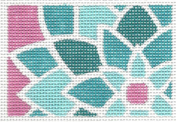 Graphic Flower Rectangle - Blue Green