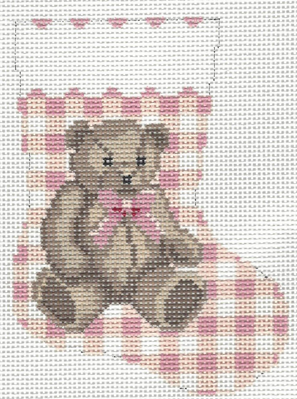 Gingham Teddy Mini Sock - Pink