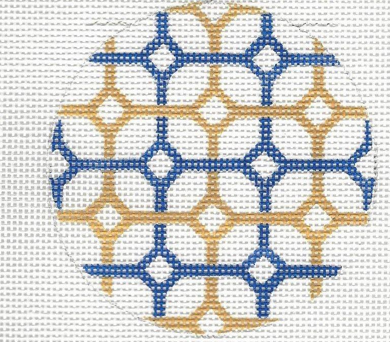 Round - Navy & Yellow Diamonds
