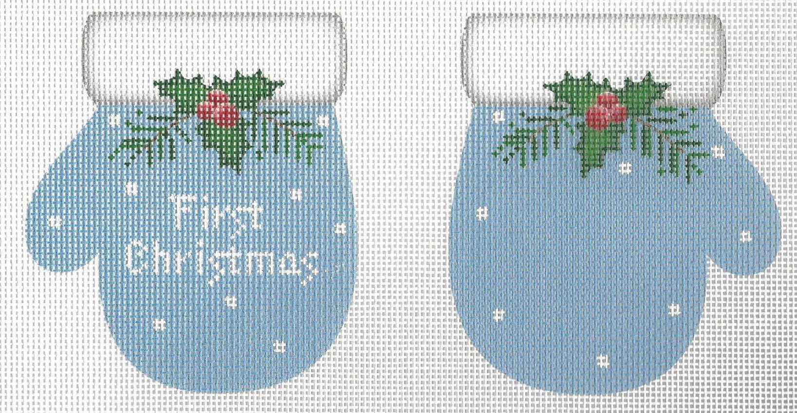 1st Christmas Mittens Blue
