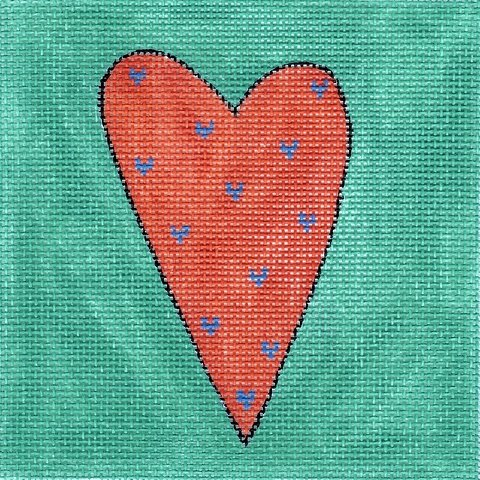 Orange & Aqua Heart