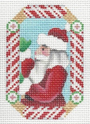 Candy Cane Ornament Santa