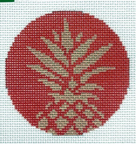 Round - Pineapple Stencil Round - Red