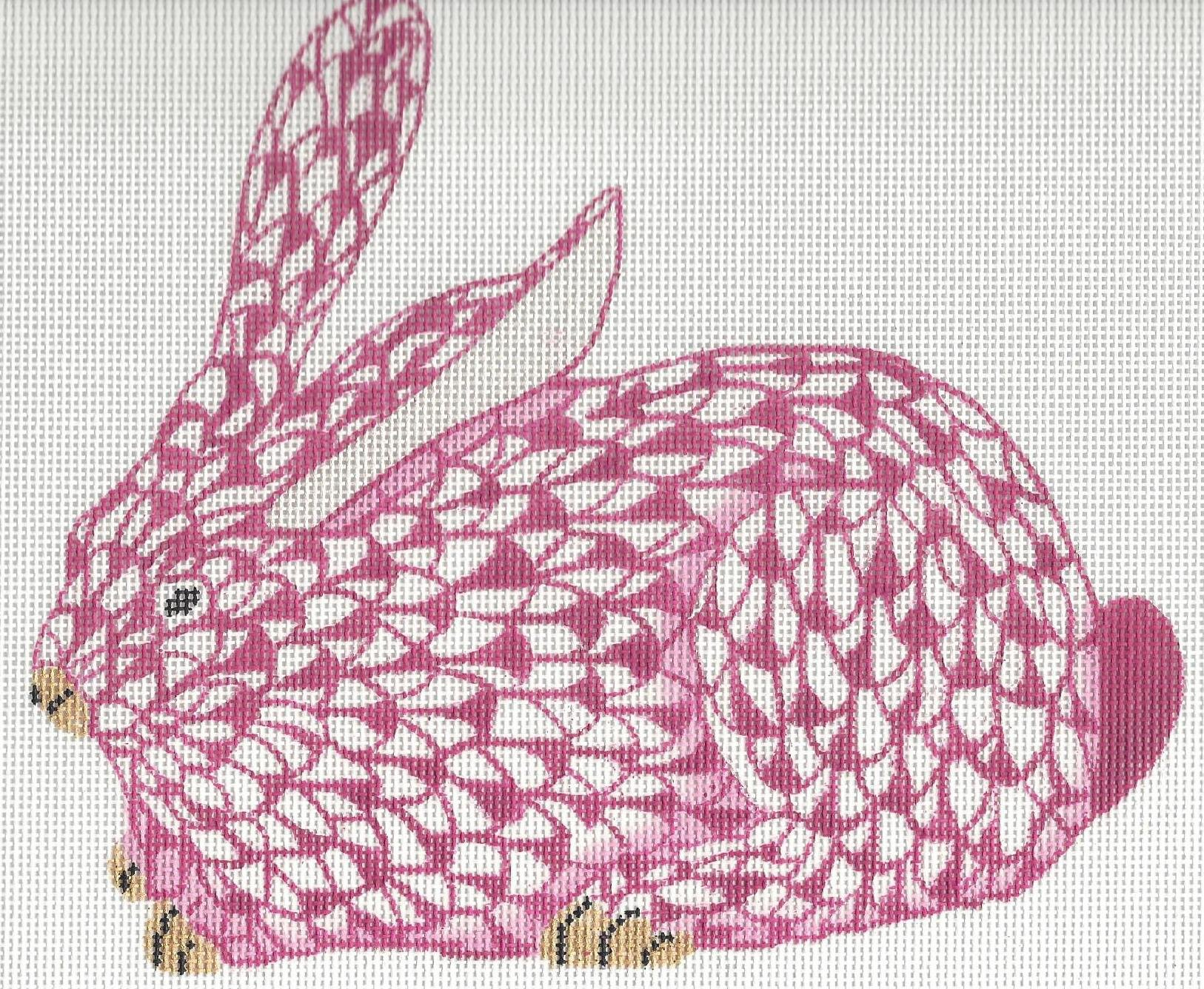 Herend inspired large crouching bunny - pink