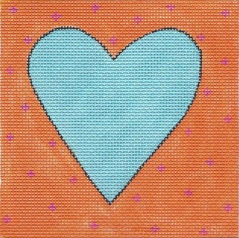 Aqua & Orange Heart