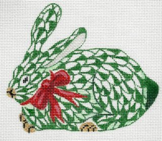Herend inspired mini crouching bunny - green w/red ribbon