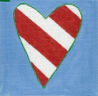Red & White Striped Heart
