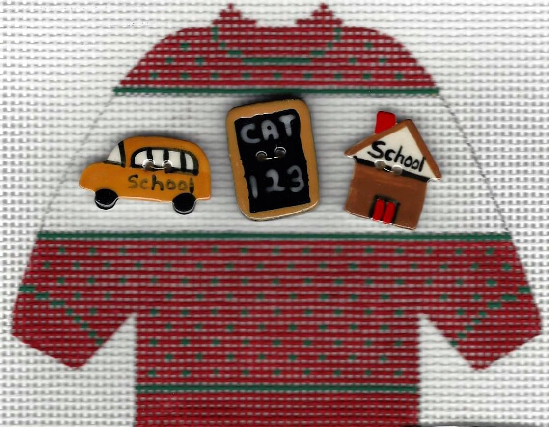 Pullover Sweater School Buttons