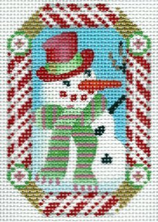 Candy Cane Ornament Snnowman
