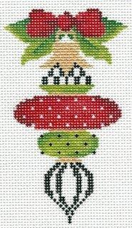Ornament - Crimson & Lime Triple Drop