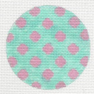 Bright Disk Turquoise w/Bright Pink Polka Dots