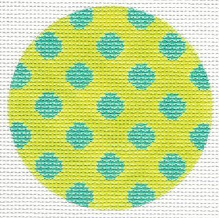 Bright Disk Lime w/Turquoise Polka Dots