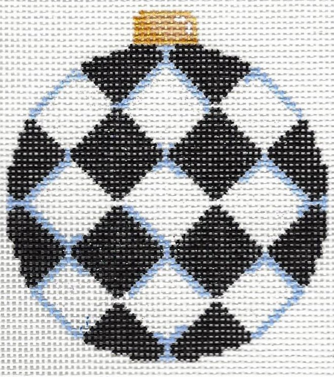 Black Harlequin Ball Ornament