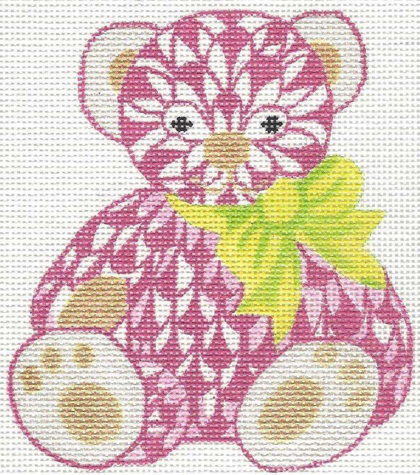 Herend inspired mini teddy bear - pink