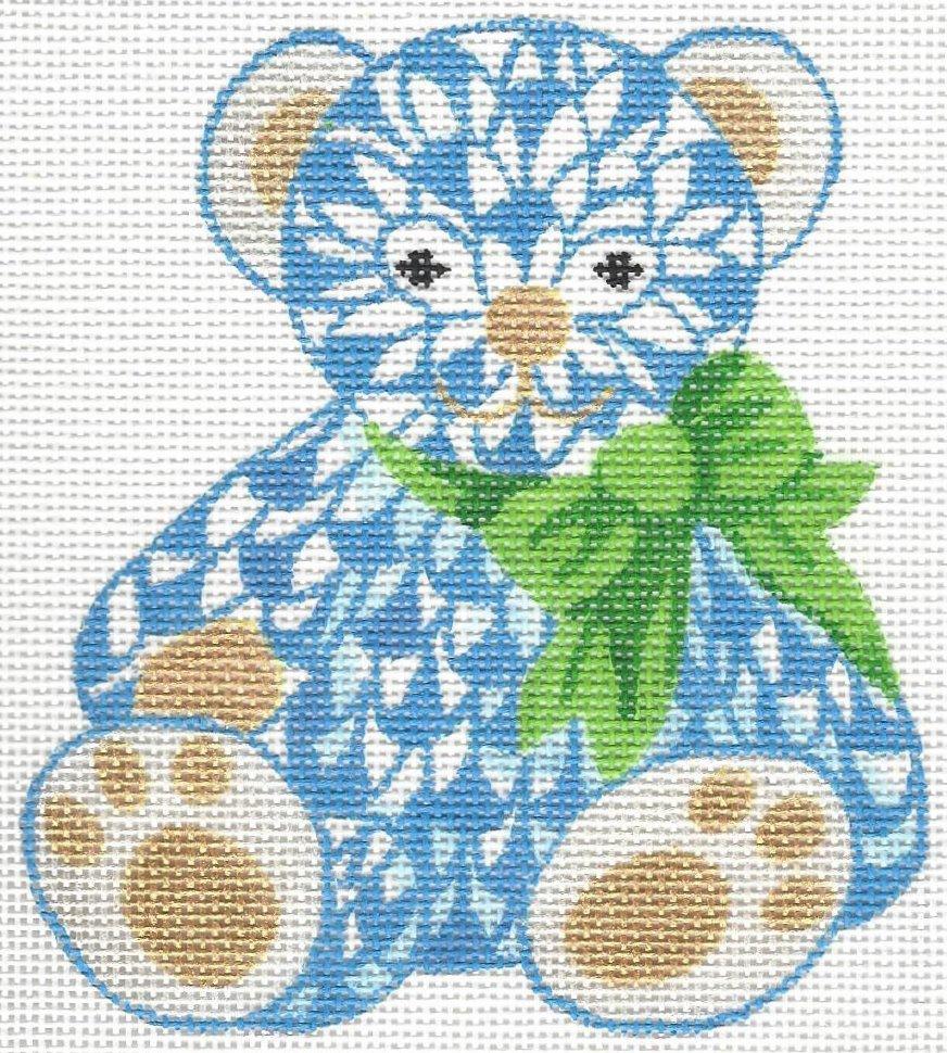 Herend inspired mini teddy bear - blue