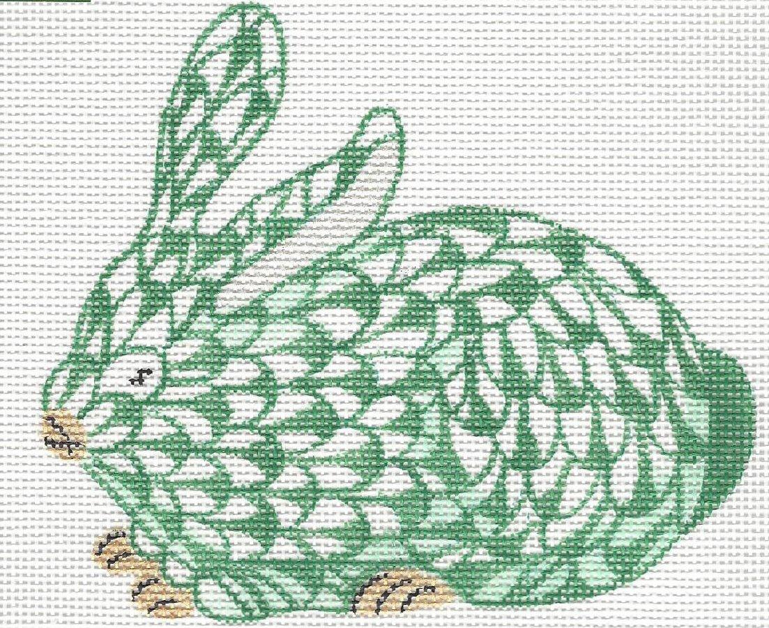 Herend inspired mini crouching bunny - green