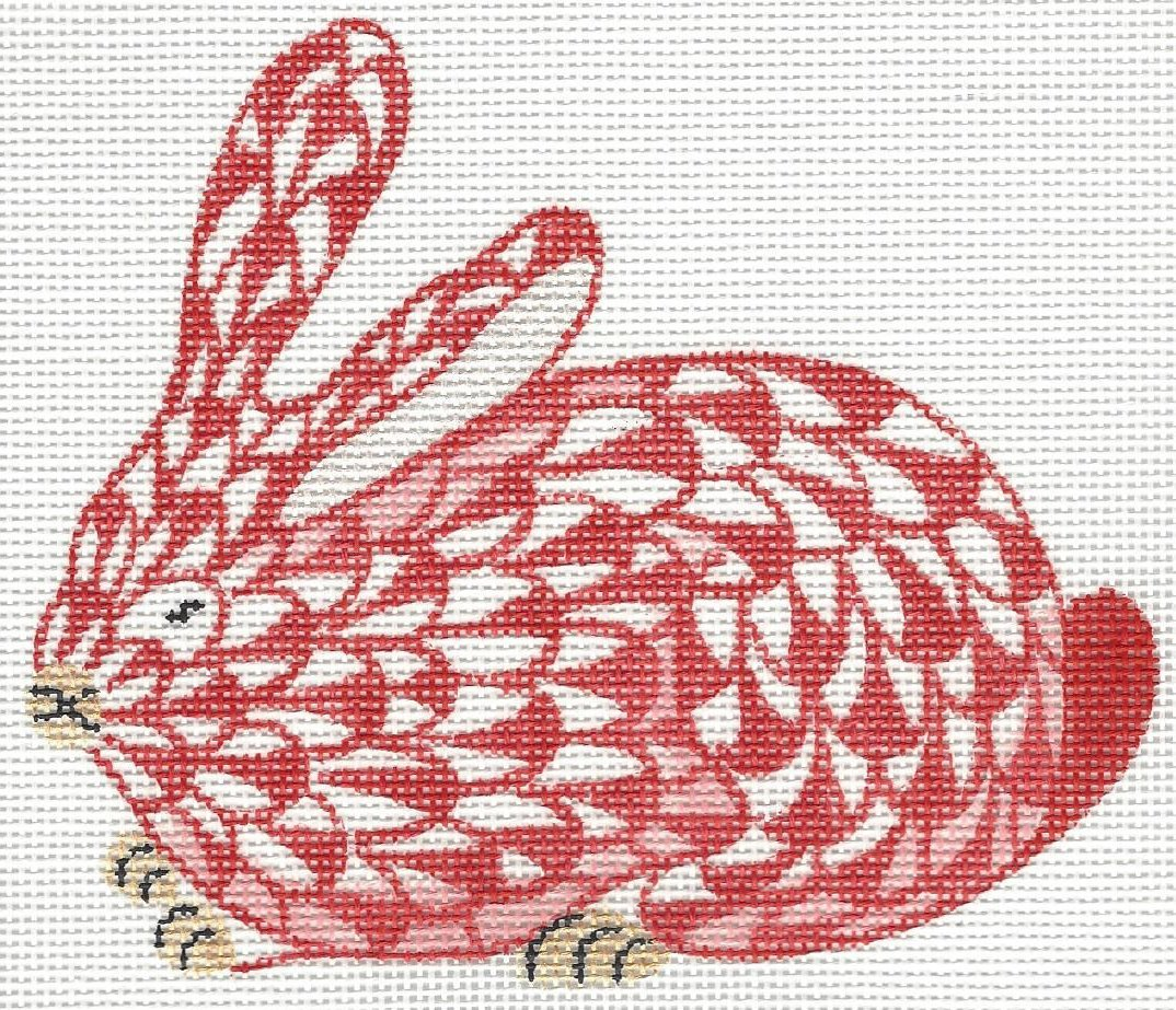 Herend inspired mini crouching bunny - red