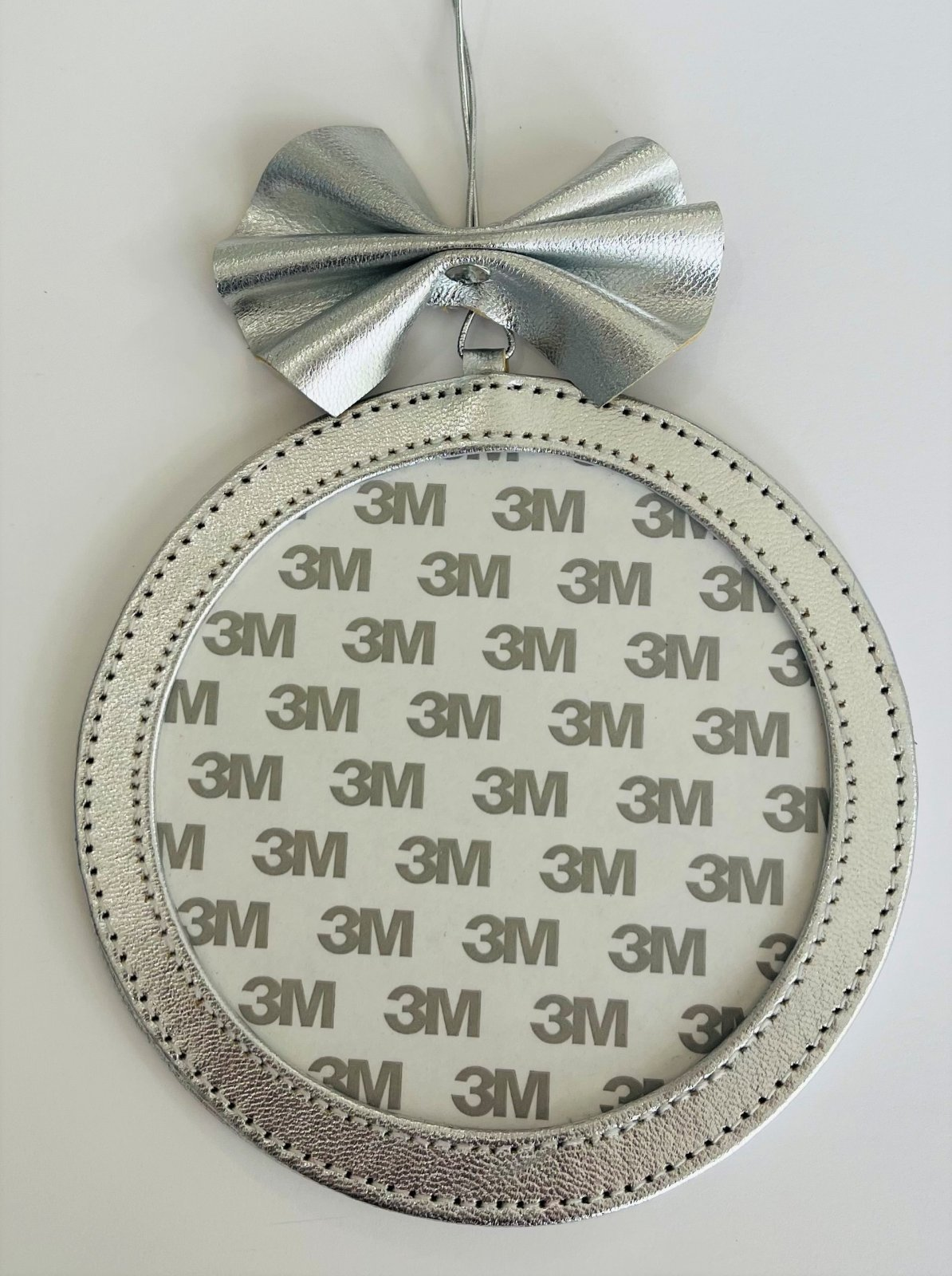 5 Round Holiday Ornament - Silver Foil