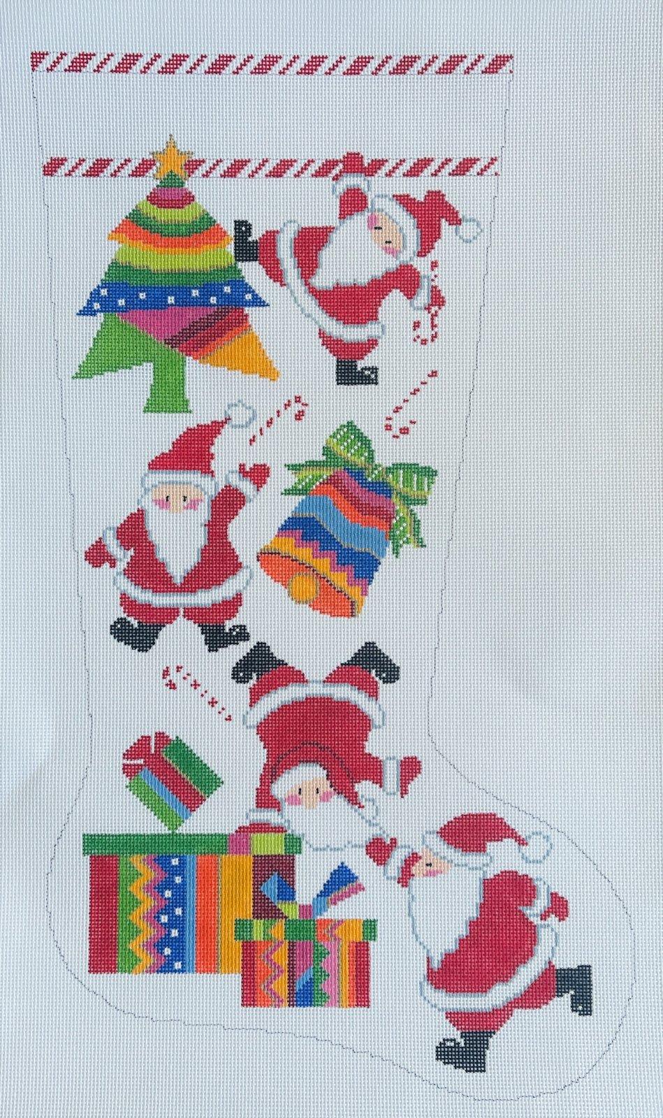 Stocking - Tumbling Santas