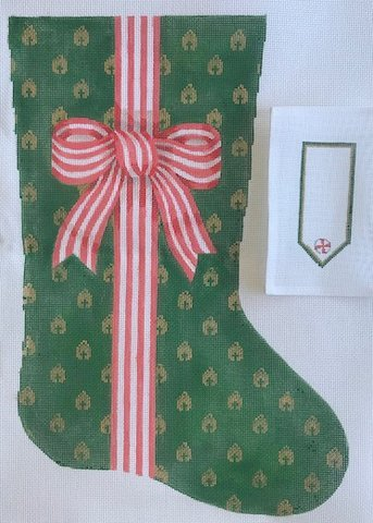 Bow Ribbons Stocking - Red Stripe/Bells