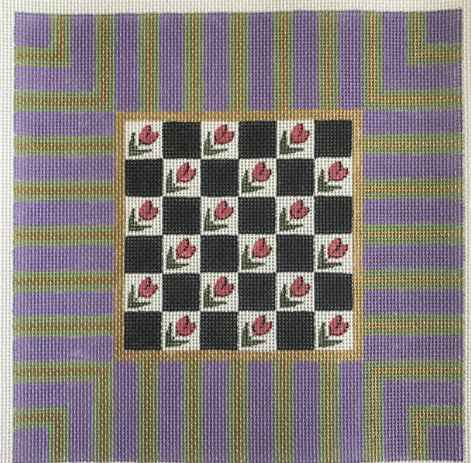 Checkerboard with Flowers